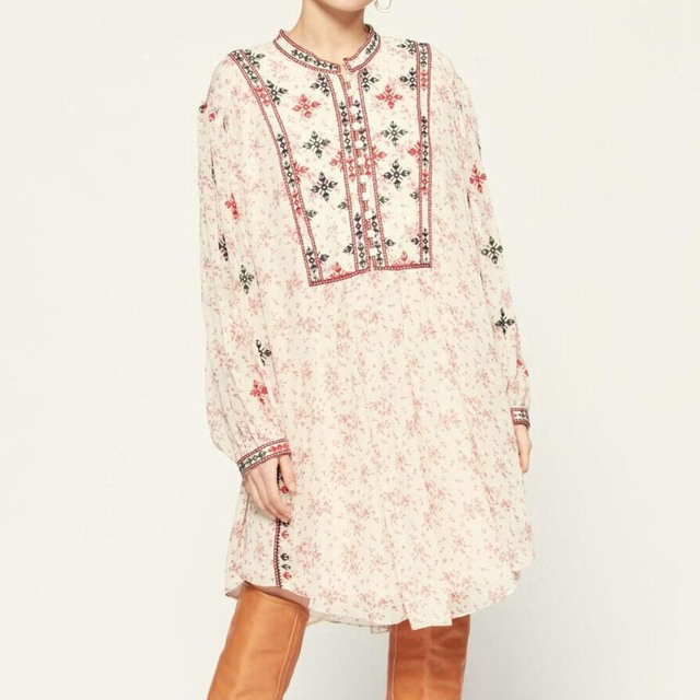 2021 New Early Spring New Retro Lantern Long Sleeve Fashion Loose Floral Print Embroidery Dress Women 1