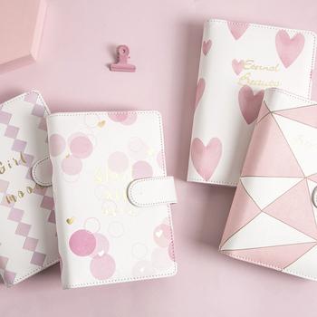 Kreatywna koreańska klamra magnetyczna notesy i czasopisma Kawaii Dot siatka papierowa kula A6 notatnik różowy prosty miesięczny Plan tanie i dobre opinie Delijia PYH359 Notenooks and Journals Gift School Office Stationery Supplies Planner Organizer White Pink Spiral Ring Binder