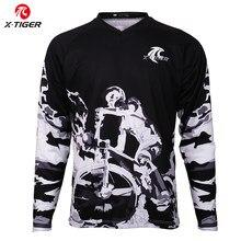 X-tiger-Camiseta de manga larga para descenso, camisetas Anti-UV para ciclismo de montaña o Motocross, transpirable, DH