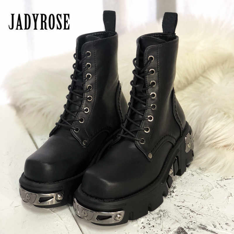 Jady Rose Punk Stil Frauen Stiefeletten Schwarz 6CM Plattform Boot Hohe Tops Military Stiefel Metall Decor Herbst Winter botas Mujer