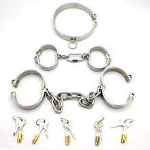 3 pçs/set slave collar + algemas para o sexo + Manilha aço restrições bondage harness slave collar algemas bdsm fetiche sex games