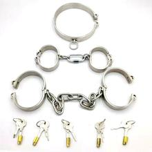 3pcs/set slave collar+handcuffs for sex+Shackle steel restraints bondage harness slave collar hand cuffs bdsm fetish sex games