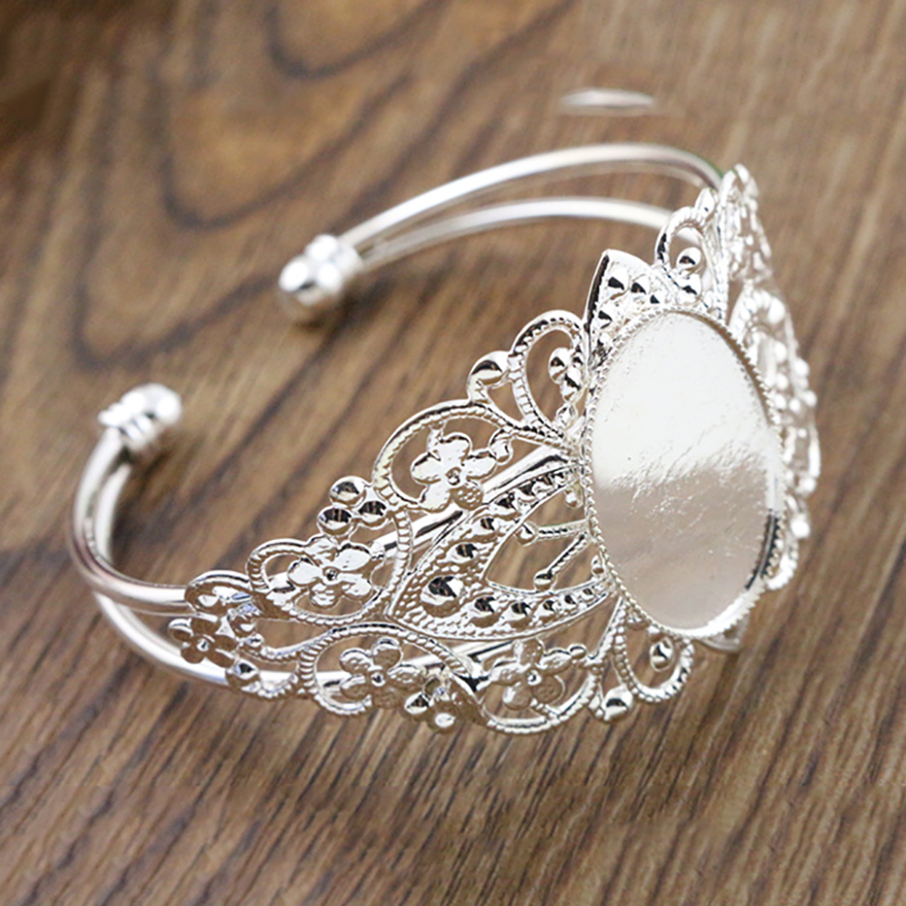 High Quality  18x25mm Bright Silver Plated Bangle Base Bracelet Blank Findings Tray Bezel Setting Cabochon Cameo  (L6-08)