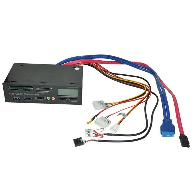 DeepFox Multifunctional USB 3.0 Front Panel 5.25'' Media Dashboard e-SATA MS CF TF SD Card Reader 3.5mm Earphone MIC Interface 3