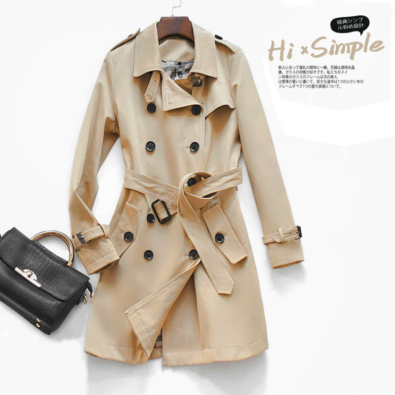 Autumn New England Style   Trench   coat Classic Double Breasted Eternal classic series High end women Slim Business Outwear Female