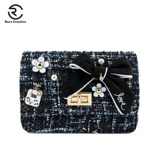 RARE CREATIVE New Women Fashion Shoulder Chain Bag Casual Ladys Bow Lovely Flap Designer High Quality Female HM6039