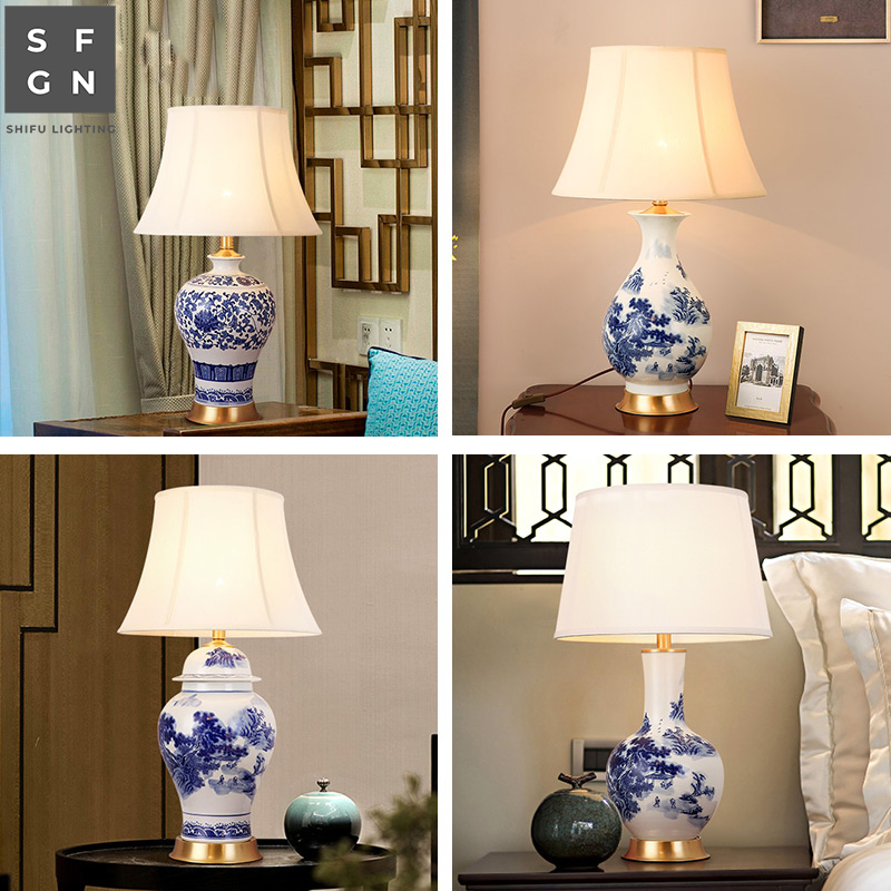 Copper table lamp bedside lamp Jingdezhen ceramic lamps chinese style table lamp for living room decorated Bedroom led lamps