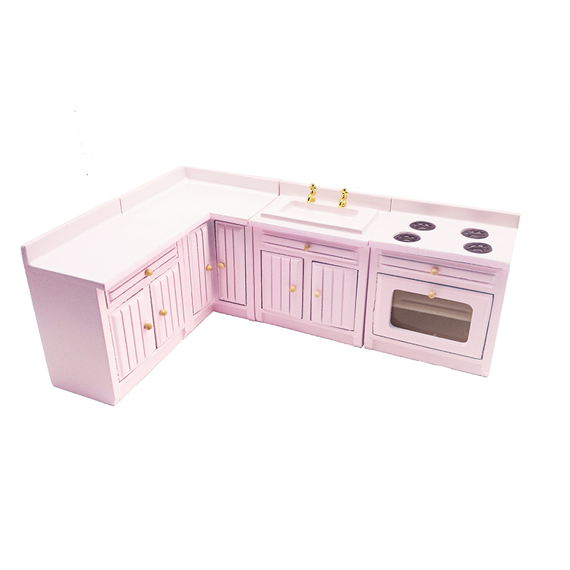 1:12 Dollhouse Miniature White Furniture Kitchen Cabinet Set Basin Stove Roaster 4 Pcs #WD012