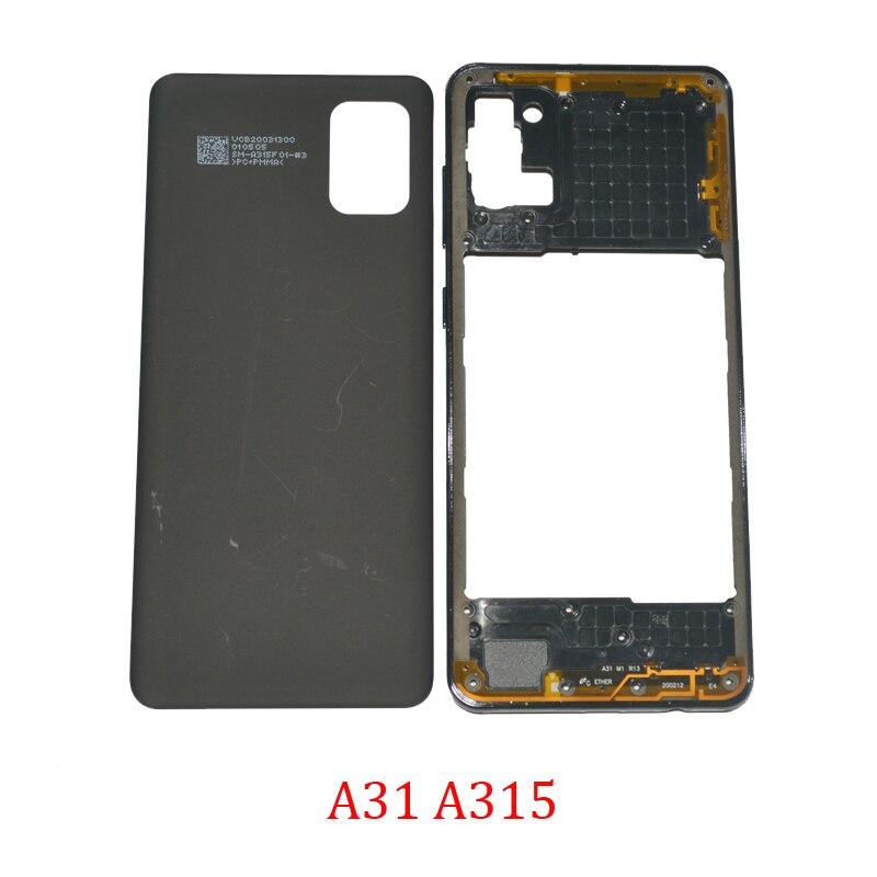 Задняя крышка средней рамки для Samsung Galaxy A31 A315F A315G A315N A315, оригинальный корпус для телефона, новая задняя панель