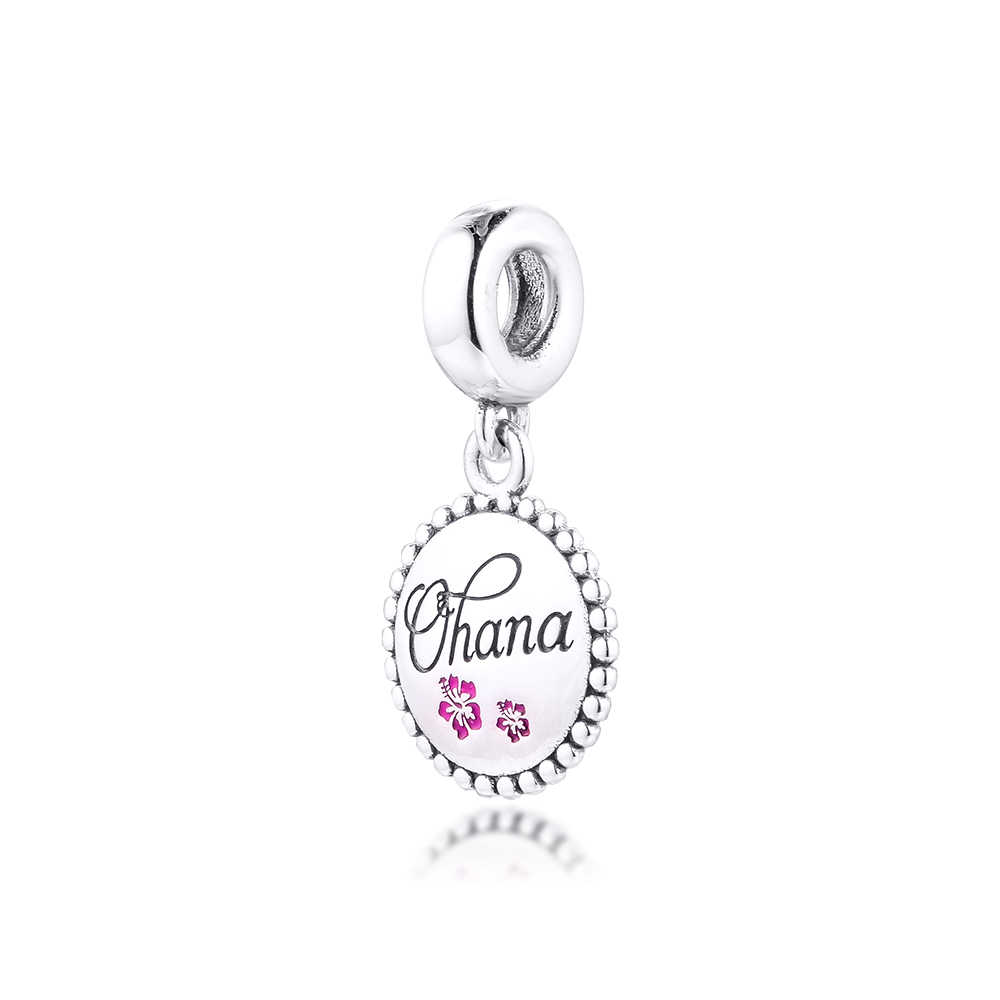 DIY Fits For Pandora Bracelets Ohana Beads 100% Sterling-Silver-Jewelry  Charms Free Shipping