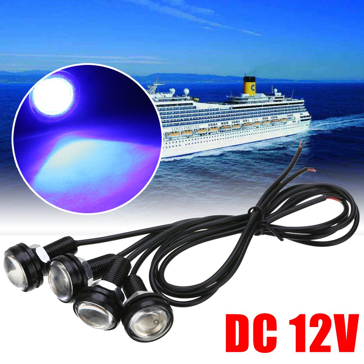 לימי סירת אורות 4pcs 12V 3W כחול LED סירת אור עמיד למים הקיא מפזר אשנב מתחת למים דגים אות מנורה