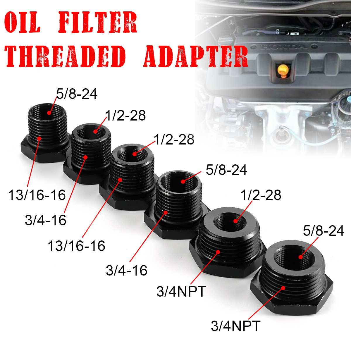 1/2pcs Steel Aluminum Car Oil Filter Adapter 1/2-28 /5/8-24 To 3/4-16 /13/16-16 /3/4 NPT Threaded Automotive For STP S3600