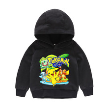 2019 New Spring sweatshirt Cotton Cartoon POKEMON GO Pikachu Kids boys girls clothes long sleeve hoodies T-shirt retail