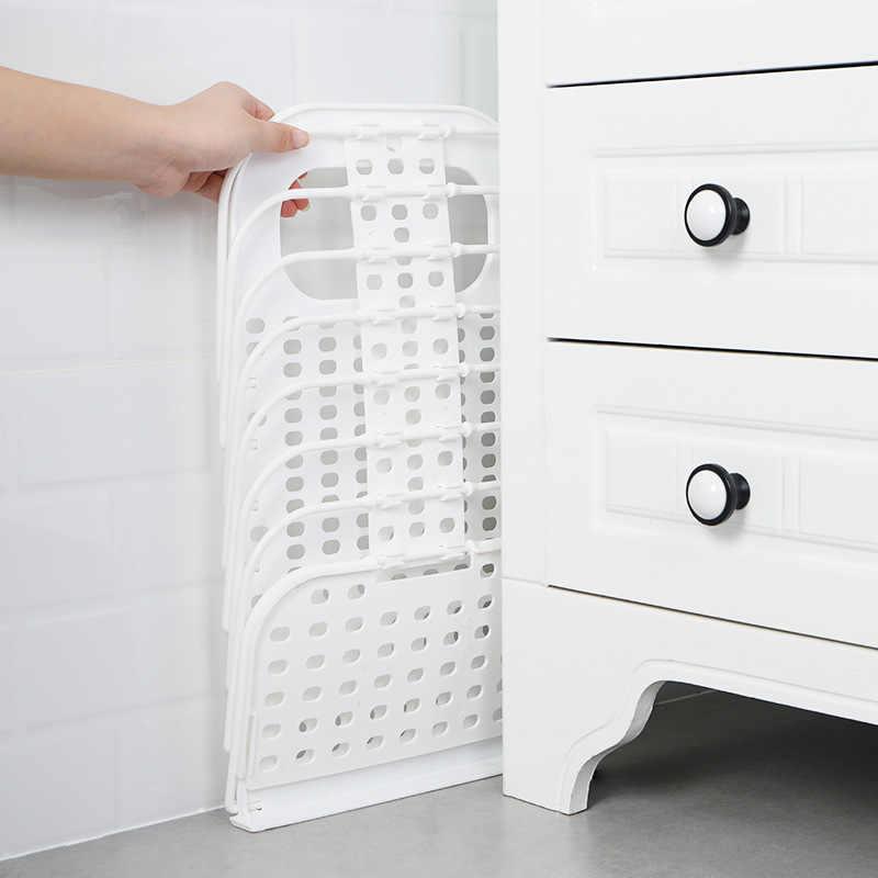 Dinding Gantungan Laundry Keranjang Kamar Mandi Penyimpanan Keranjang Plastik Lipat Lubang Menekan Rumah Tangga Asrama Penyimpanan Keranjang Gantungan Dinding