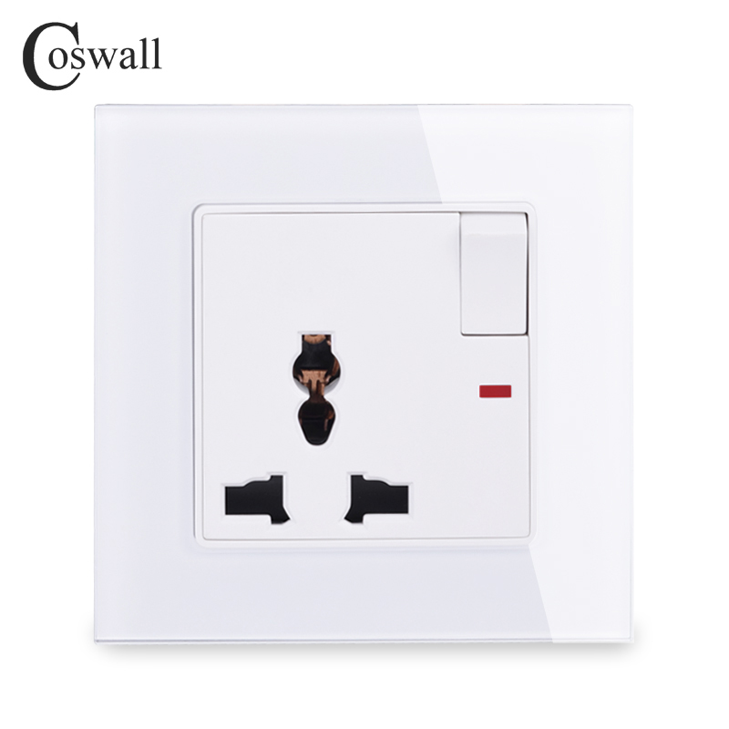 COSWALL Tempered Crystal Glass Panel 13A Universal Switched Socket With Neon Wall Outlet Grounded With Children Protective Door