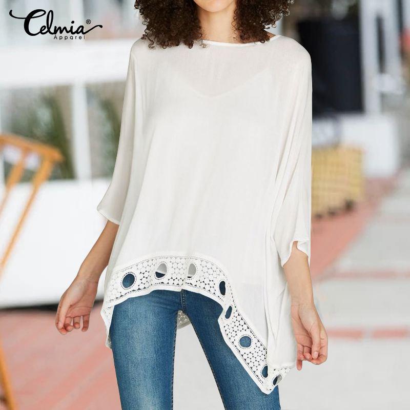 Celmia 2020 Women Lace Hollow White Blouses Sleeve Ladies Office Shirts Plus Size Tops Asymmetrical Casual Loose Blusas