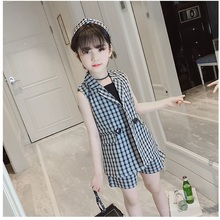 Explosion models summer new Korean girls solid color striped plaid suit in the b