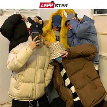 LAPPSTER Men Harajuku Colorful Bubble Coat Winter Jacket 2020 Mens Streetwear Hip Hop Parka Korean Black Clothes Puffer Jackets