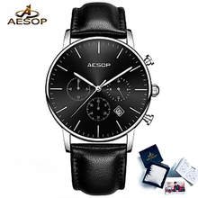 AESOP Men's Luxury Fashion Sport Casual Watches  Quartz Watch Wrist watch Genuine Leather Male Clock Men Relogio Masculino women men fashion creative genuine leather bracelet watches casual quartz watch female male clock dropshipping