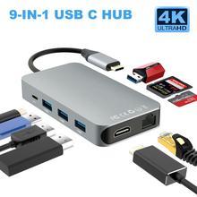 9 в 1 Тип C на HDMI/RJ45/HDMI 4K концентратор USB/SD/TF многофункциональная док-станция для Macbook Pro samsung S9 thunderbolt 3 USB C