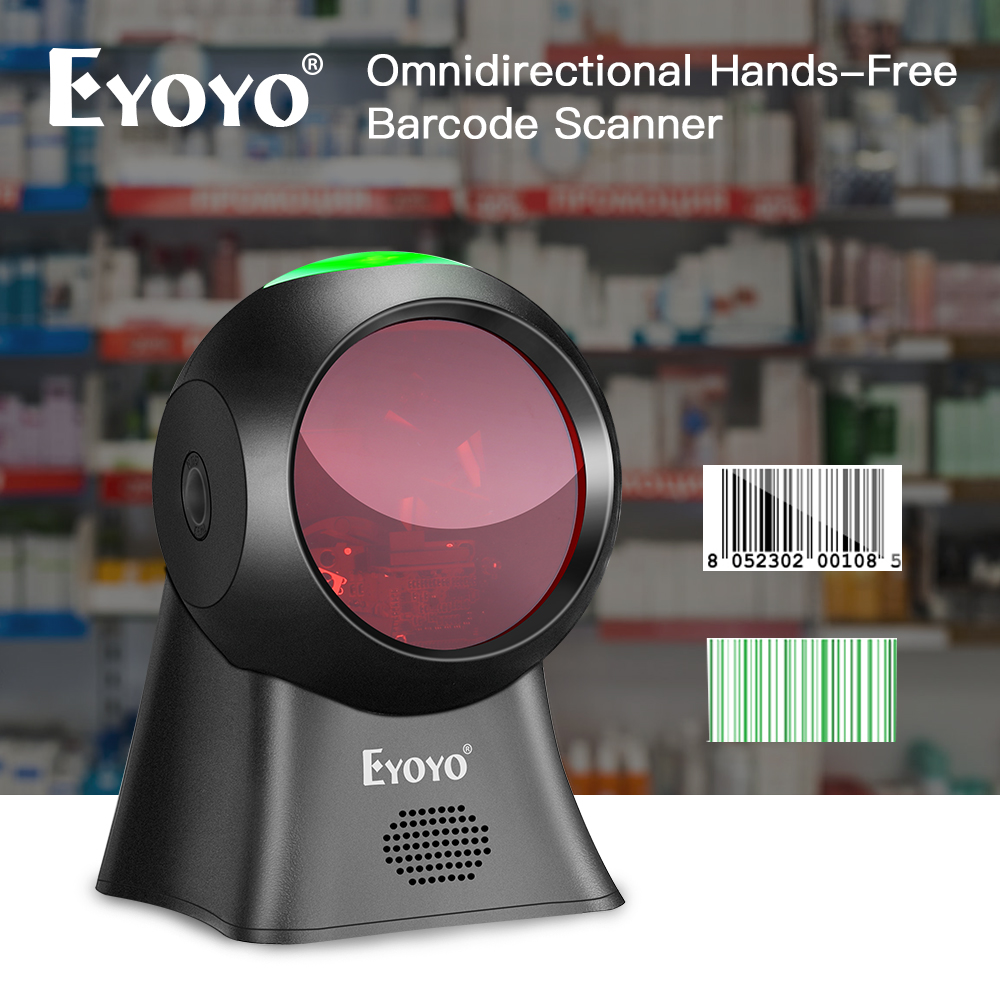 Eyoyo Barcode Scanner Omnidirectional Desktop Automatic-Sensing USB 1D EY-7100 Wired title=