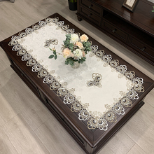 Table-Cover Flower Fabric Coffee Rectangle Embroidered Lace-Book Solid-Color European