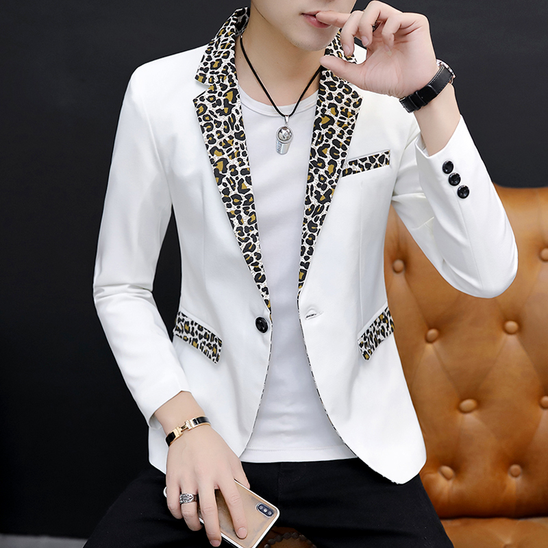 2019 Men Suit Character To Cultivate One's Morality Leisure Suit Trend Handsome Leopard Splicing Brought Suit