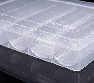 Image 2 - 100 sztuk 30mm etui na monety w kształcie kapsułki przezroczysty z tworzywa sztucznego okrągłe pudełko 28 zestaw