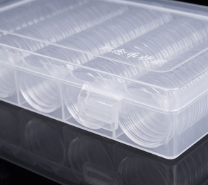 Image 2 - 100Pcs 30 Mm Munt Gevallen Capsules Houder Clear Plastic Ronde Opbergdoos 28Set