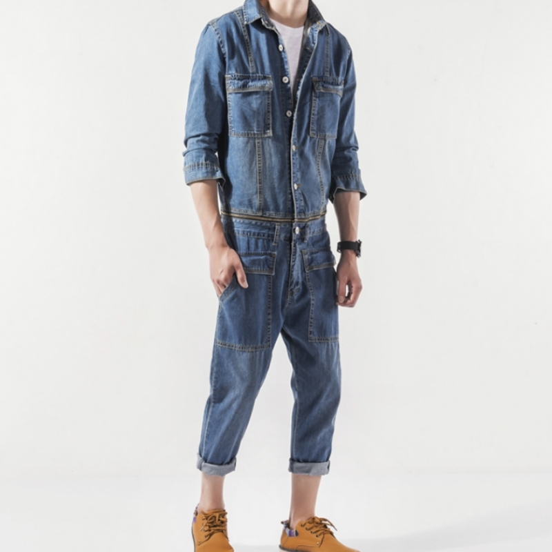 Japan Style Vintage Casual Denim Overalls Men Spring Autumn Slim Jean Jacket And Pants 2 Piece Set Detachable Harajuku Jumpsuit