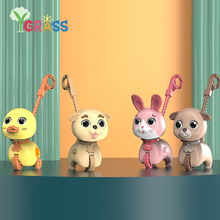 Trolley Walker Toy Educational Toddler Music Animals Duck Bear Hand Push Single Pole Drag Light Car Baby Toys Rattles For Kids