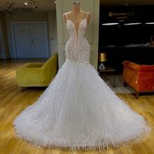Robe De Soiree Dubai Design White Feather Party Dresses Mermaid Pearls Custom Evening Gown Formal Dress Long Prom Dress Vestidos