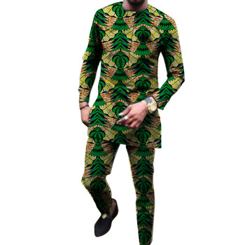 2020 African fashion men's pant sets Dashiki tops and elastic waist trousers custom made man Ankara outfits