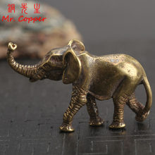 Vintage Brass Elephant Home Decor Ornaments Crafts Miniatures Figurines Desk Decoration Accessories Handmade Mini Animals Statue(China)