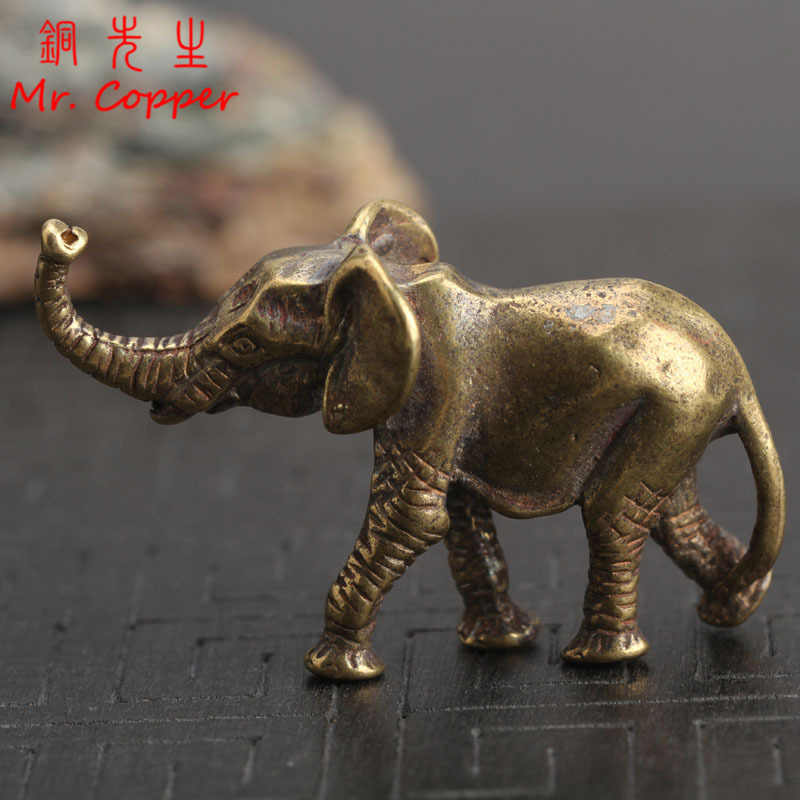 Vintage Brass Elephant Home Decor Ornaments Crafts Miniatures Figurines Desk Decoration Accessories Handmade Mini Animals Statue