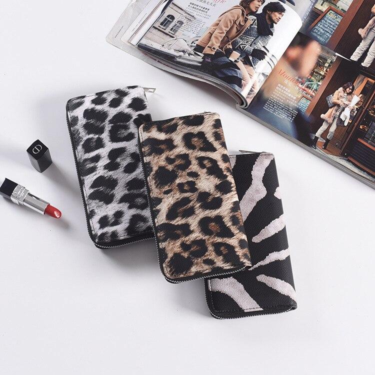 New Women's Fashion Long Zipper Wallet Female Leopard Print PU Leather Purse Prismatic Package Skilful Floral Corners Clutch