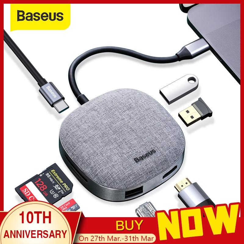 Baseus USB C HUB Type C To HDMI RJ45 USB 3.0 USB HUB For MacBook Pro USB C Dock SD Card Reader Fabric USB Adapter Type C HUB