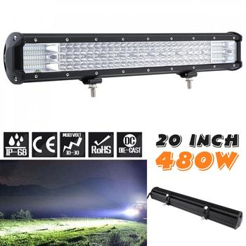 Quad Rows 20 Inch 480W 160Pcs LED Strip Car LED Light Bar Work Light Combo Beam for Offroad Boat Tractor Truck SUV Driving Lamp