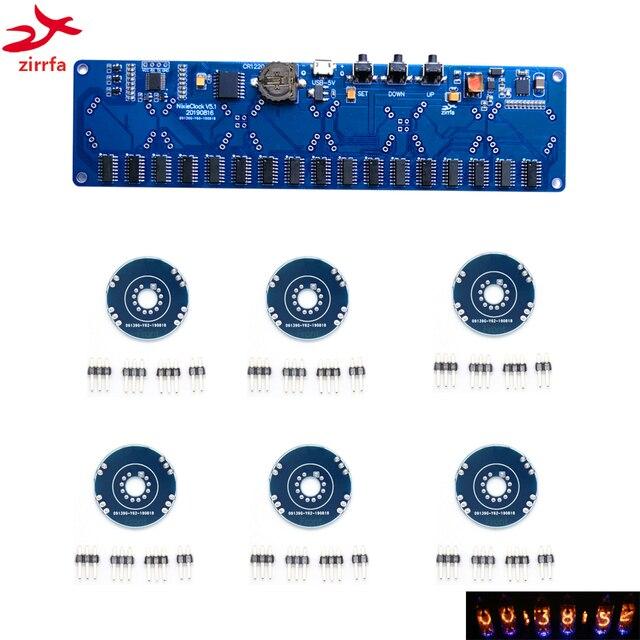 Zirrfa 5V kit DIY electrónico in8 in8 2 in12 in14 in16 in17 Nixie tubo digital LED reloj regalo circuito Junta kit PCBA, sin tubos