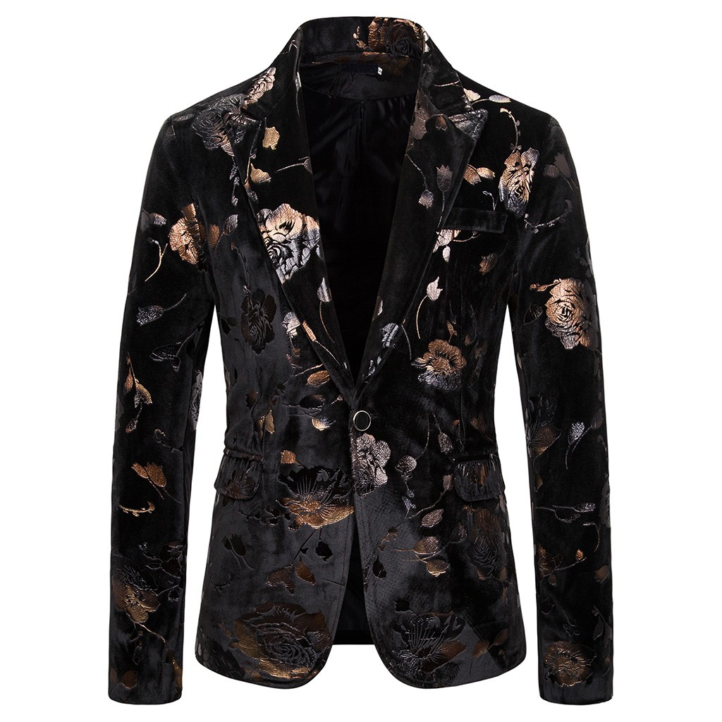 Rose Flowers Gold Bronzing Blazer Men Suits Fashion Casual Design Single Breasted Suit Jacket Tuxedo Blazer Masculino S-2XL Nice