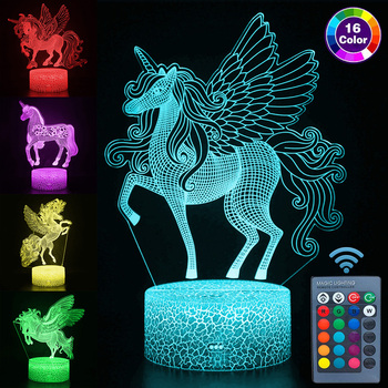 цена на 16 Colors Pegasus 3D Night Lights Remote and Touch Control Unicorn Lamp Bedroom Decor luminaria Night Lights Kids Christmas Gift