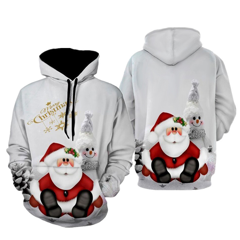 2019 New Autumn And Winter Christmas Sweater 3D Print Oversized Hooded Sweater Unisex Man Woman Funny Ugly Christmas Sweater
