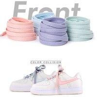 1 paire chaussures plates lacet Off Sneaker blanc chaussures dentelle pour femmes et hommes lacet pour AJ/AF lacets 4 couleurs