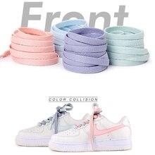 1Pair Flats Shoelace Off Sneaker White Shoes Lace For Women and Men AJ/AF Shoelaces 4 Colors