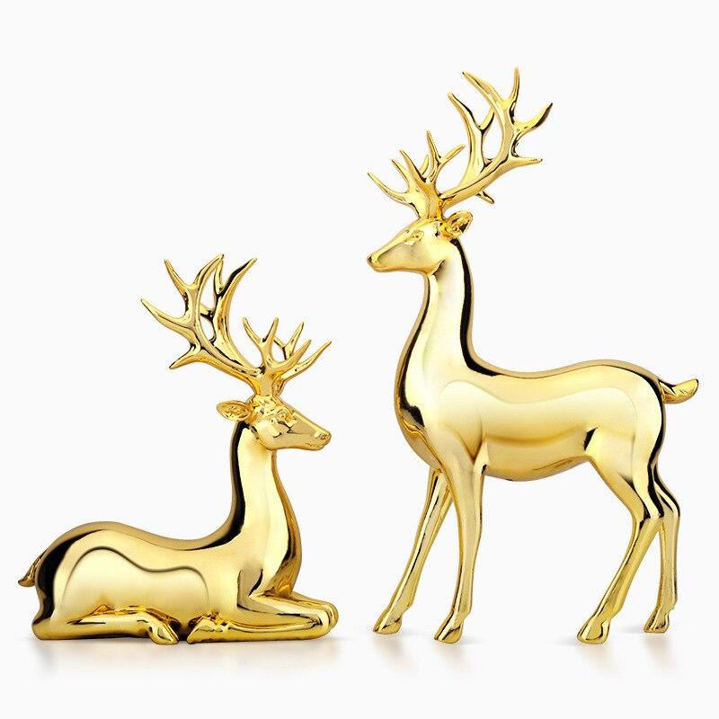 2 Pieces Resin Gold Deer Statue Sculpture Fairy Garden Miniature Figurine Abstract Decor Accessories Modern Desktop Ornaments