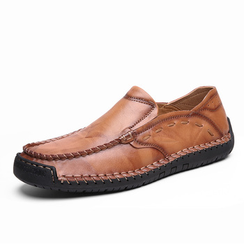 Spring large size leather shoes men's hand-stitched retro loafers breathable casual Moccasin shoes