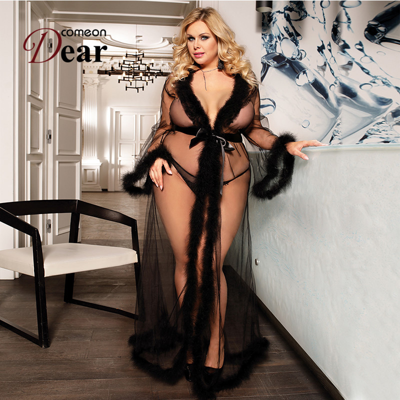 Comeondear Women Fantasy Lingerie With Fur Erotic Underwear Big Size Robe Transparente Floor-Length Nightwear Babydoll RA80759