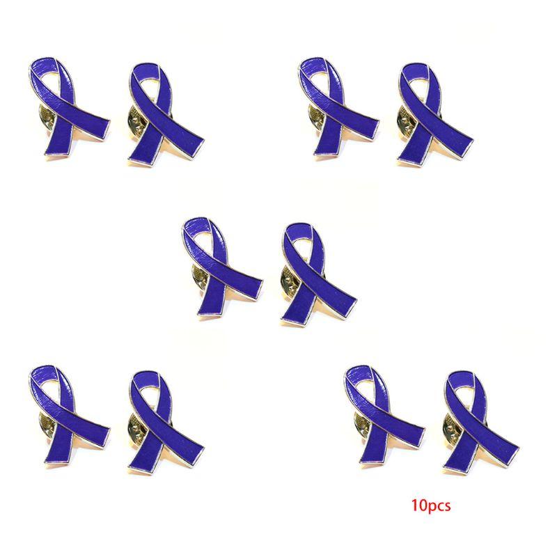 10Pcs/Set Womens Jewelry Enamel purple Ribbon Brooch Pins Surviving Breast Cancer Awareness Hope Lapel Buttons Badges