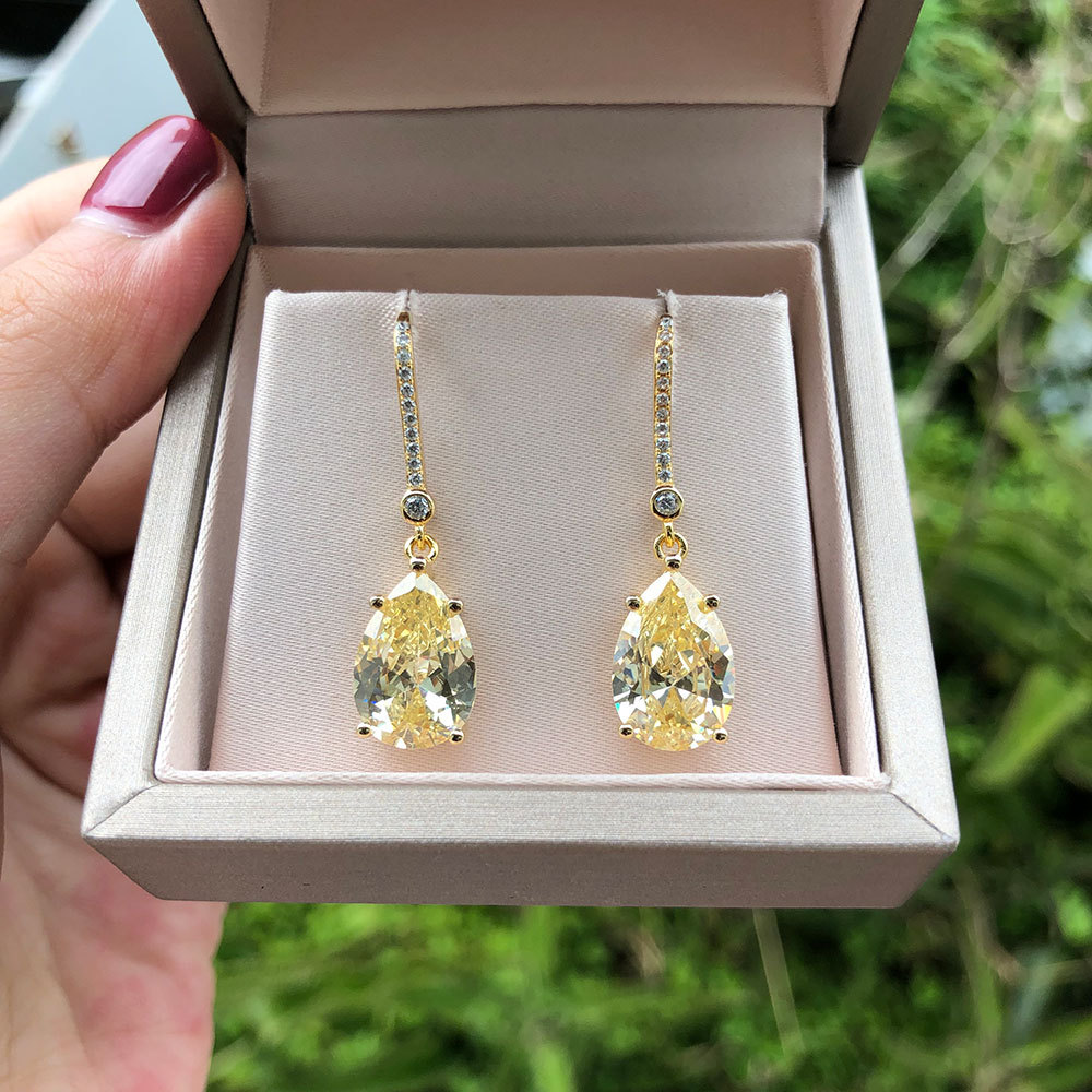 PANSYSEN Gold Color 9*13MM Citrine Diamond Earrings Real Silver 925 Fine Jewelry Drop Earrings Wedding Engagement Gift for Women