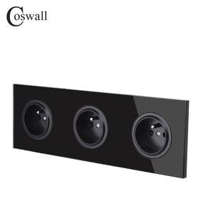 Image 4 - Coswall קריסטל מזג טהור זכוכית פנל 16A לשלושה צרפתית סטנדרטי קיר שקע חשמל מעוגן עם ילד מגן נעילה